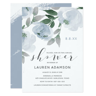 Dusty Blue & Gray Watercolor Bridal Shower Invitation