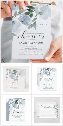 Dusty Blue & Gray Watercolor Bridal Shower Wedding