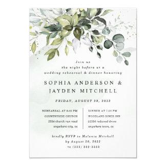 Dusty Blue Greenery Boho Wedding Rehearsal Dinner Invitation
