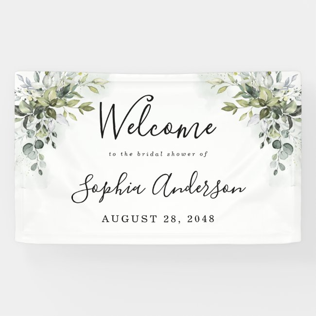 Dusty Blue Greenery Bridal Shower Welcome Sign