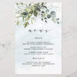 """Dusty Blue Greenery Floral Boho Wedding Menu Cards<br><div class=""""desc"""">This design is available with two different dusty blue shades. One option is more dustier than the other and leans towards a gray-dusty blue. This one that you are currently viewing leans more towards blue for the watercolor splashes. Compare each on-screen preview for a perfect match when it comes to...</div>"""