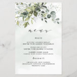 """Dusty Blue Greenery Floral Boho Wedding Menu Cards<br><div class=""""desc"""">Design features a bouquet of watercolor greenery, eucalyptus and a succulent over a dusty blue watercolor splash. Design also features specks of painted (printed) gold and green. Check on screen previews before checking out to make sure your personal details print to your satisfaction. You can fully customize this design under...</div>"""