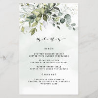 Dusty Blue Greenery Floral Boho Wedding Menu Cards