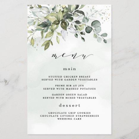 Dusty Blue Greenery Floral Boho Wedding Menu Cards