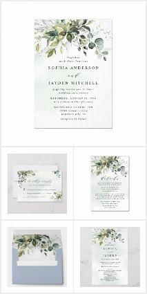 Dusty Blue Greenery Floral Wedding Invitations Set