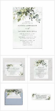 Dusty Blue Greenery Floral Wedding Invitations Set