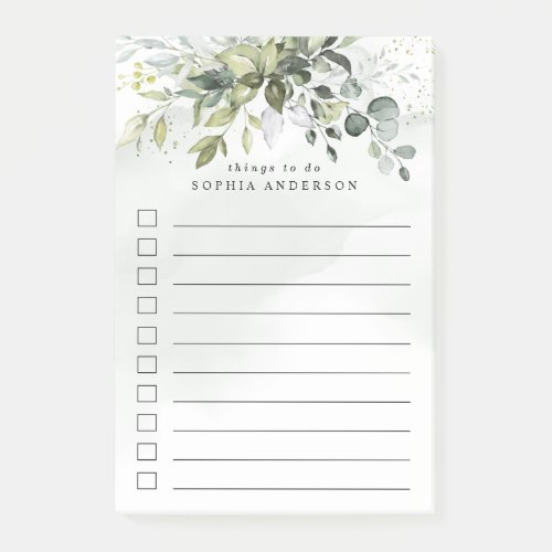 Dusty Blue Greenery Succulent Elegant To Do List Post-it Notes
