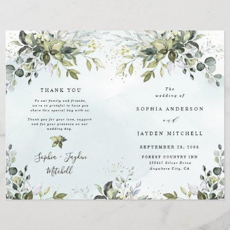 Dusty Blue Greenery Themed Folded Wedding Programs