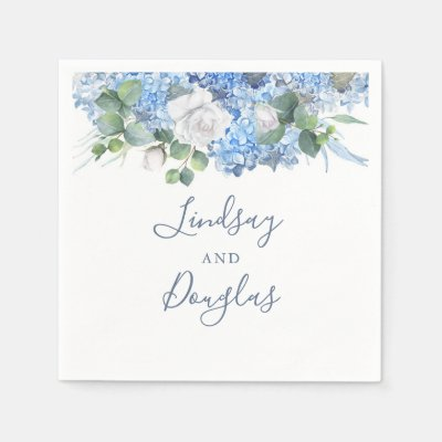 Dusty Blue Hydrangea Floral Greenery Elegant Napkins