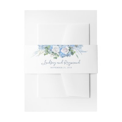 Dusty Blue Hydrangea Floral Wedding Invitation Belly Band