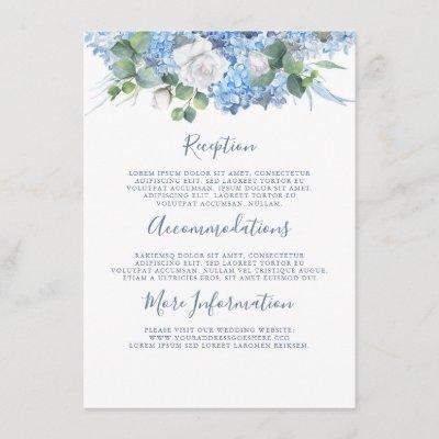 Dusty Blue Hydrangea Wedding Details Information Enclosure Card