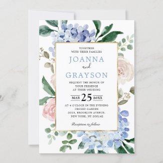 Dusty blue hydrangeas pastel pink roses wedding invitation