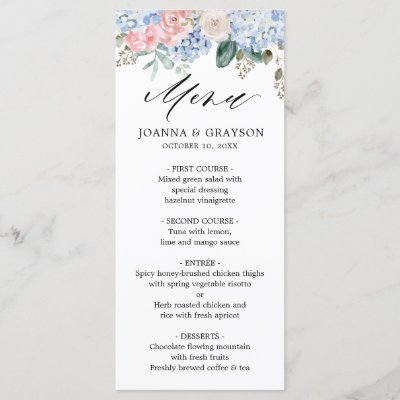 Dusty blue hydrangeas pastel pink roses wedding menu