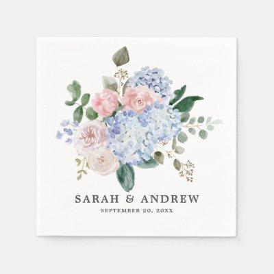 Dusty blue hydrangeas pastel pink roses wedding napkins