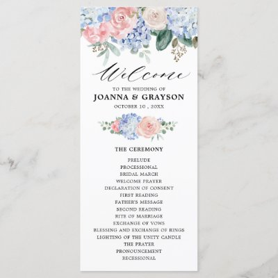 Dusty blue hydrangeas pastel pink roses wedding program