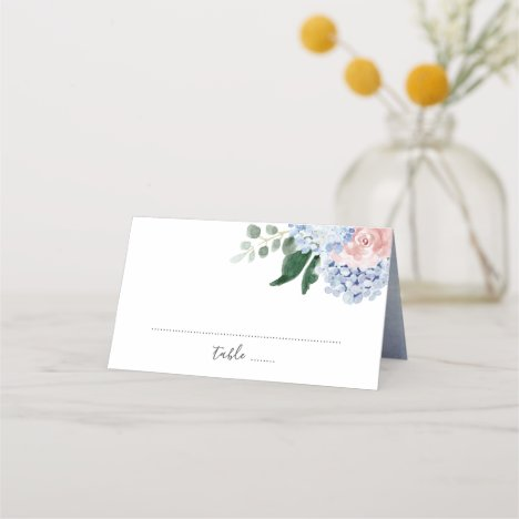 Dusty blue hydrangeas pink roses place card