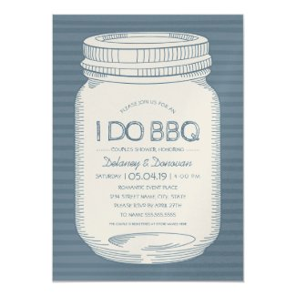 Dusty Blue I Do BBQ Mason Jar Couples Shower Invitation