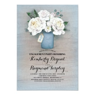 Dusty Blue Mason Jar Rustic Engagement Party Invitation