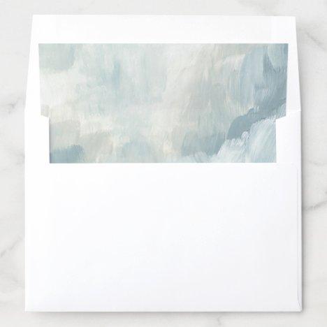 Dusty Blue Modern Abstract Brushstrokes Envelope Liner