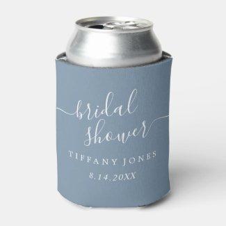Dusty Blue Modern Script Bridal Shower Can Cooler