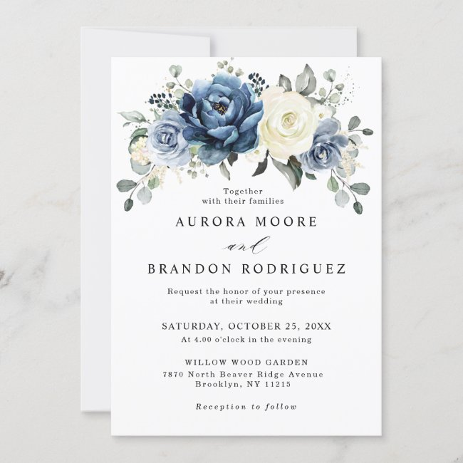 Dusty Blue Navy Champagne Ivory Floral Wedding Invitation