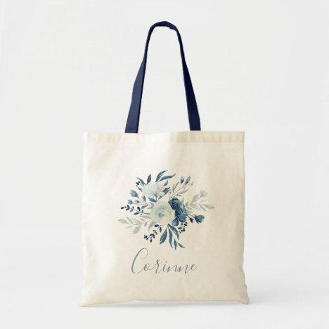 Dusty Blue Navy Floral Bouquet Bridesmaid Tote Bag