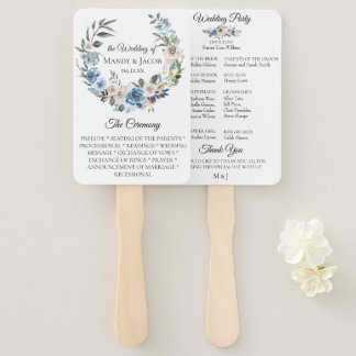 Dusty Blue Neutral Floral Wedding Program Fans