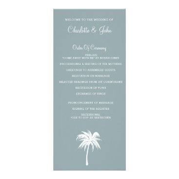 Dusty Blue  Palm Tree  Beach Wedding programs