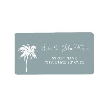 Dusty Blue  Palm Tree Wedding address labels