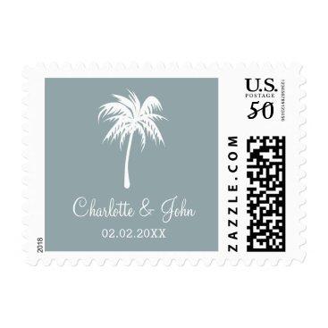 Dusty Blue  Palm Tree Wedding postage