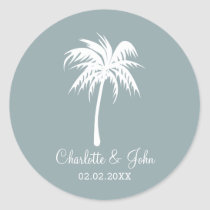 Dusty Blue  Palm Tree Wedding stickers