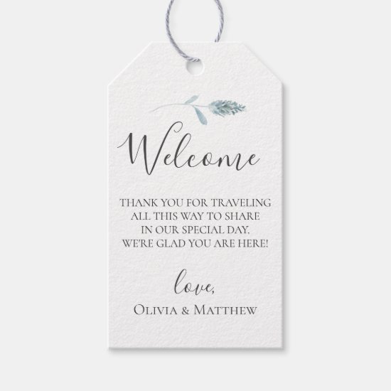 Dusty Blue Pampas Grass Wedding Welcome Bag Gift Tags