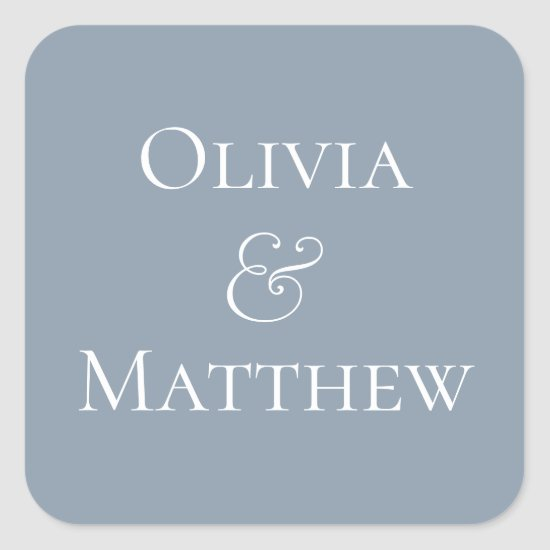 Dusty Blue Personalized Square Sticker