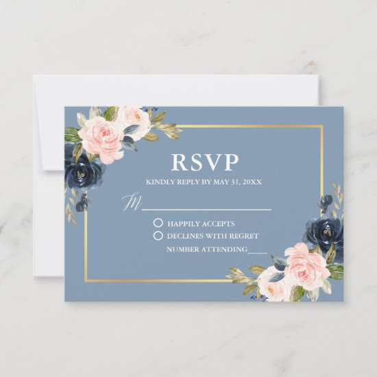 Dusty Blue Pink Floral Gold Frame Wedding RSVP