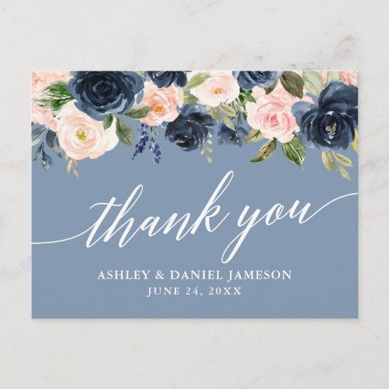 Dusty Blue Pink Floral Wedding Thanks Postcard