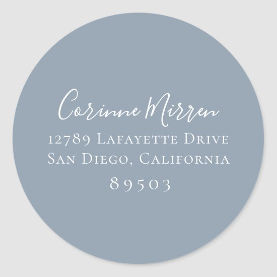 Dusty Blue Return Address Sticker