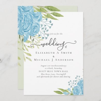 Dusty Blue Roses Lime Leaves Wedding Budget