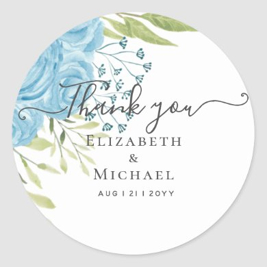 Dusty Blue Roses Lime Leaves Wedding Budget Classic Round Sticker