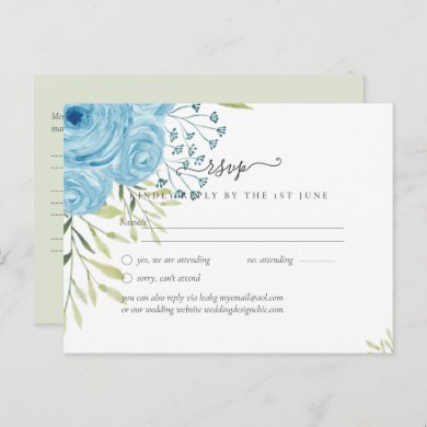 Dusty Blue Roses Lime Leaves Wedding Budget Postcard