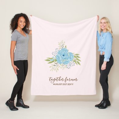 Dusty Blue Roses NewlyWeds Wedding Gift Personal Fleece Blanket