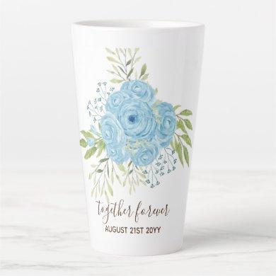 Dusty Blue Roses NewlyWeds Wedding Gift Personal Latte Mug