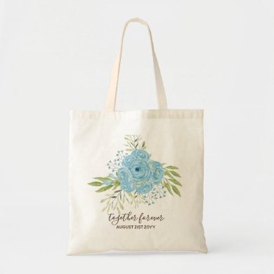 Dusty Blue Roses NewlyWeds Wedding Gift Personal Tote Bag