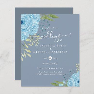 Dusty Blue Roses Wedding Budget