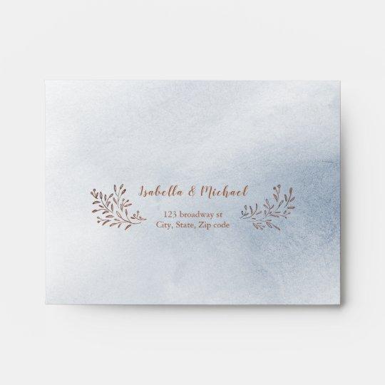 Dusty Blue Rustic Fl Wedding Rsvp Envelope