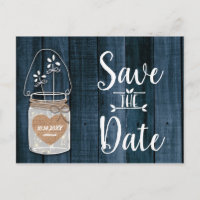 Dusty Blue Rustic Mason Jar Wedding Save the Date Announcement Postcard