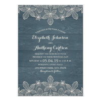 Dusty Blue Rustic Wood Lace and Pearls Wedding Invitation