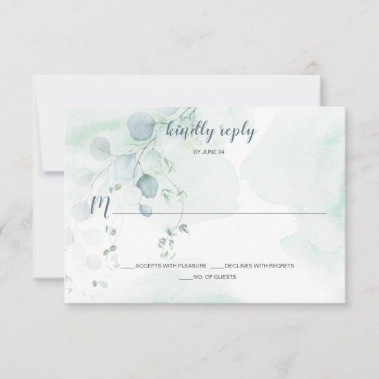 Dusty Blue & Sage Green Eucalyptus Botanical RSVP