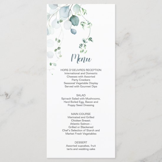 Dusty Blue Sage Green Eucalyptus Botanical Wedding Menu