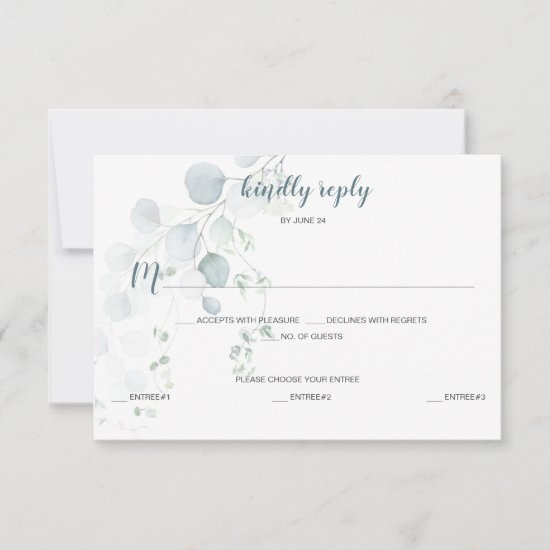 Dusty Blue & Sage Green Eucalyptus Meal Selection RSVP Card