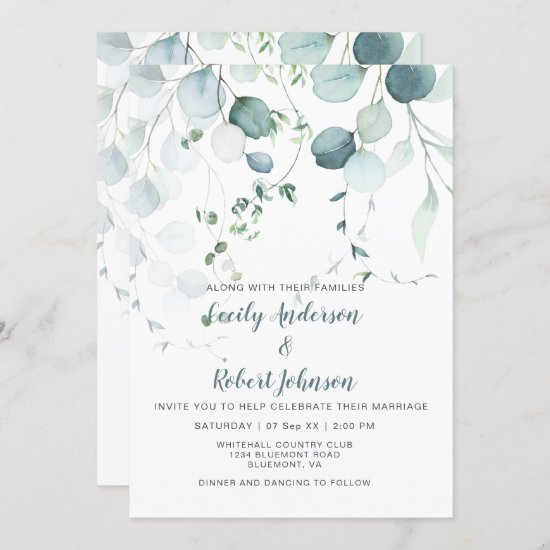 Dusty Blue & Sage Green Eucalyptus on White Invitation